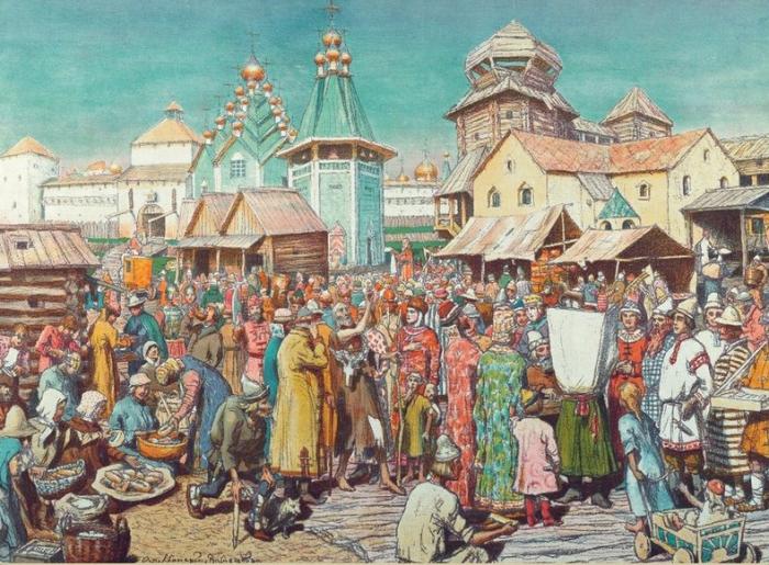 Такой типичную московскую площадь средневековых времен видел художник Аполлинарий Васнецов.